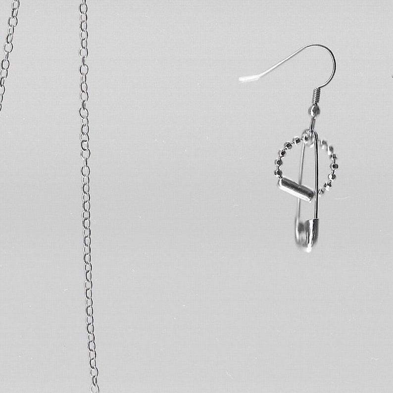 Safety Pin Chain Jewelry \u2022 Found Goods \u2022 One-Piece Earring \u2022 High Quality Stainless Steel Hooks \u2022 One of a Kind \u2022 Adjustable \u2022 Special Gift