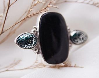 """Barnovi signature """"Spike Ring"""" design - Handmade Enamel Cloisonne,Sterling Silver,Ring,Gift,"""