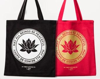 May All Beings Be Peaceful & Happy- Yoga Bag / Reusable Shopping  Bag / Book Bag / Canvas Tote / Shoulder Bag