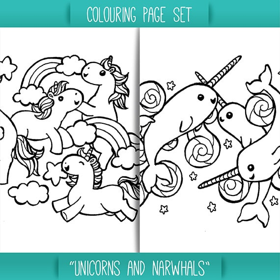 Image of: Cute Narwhal Image Debebesclub Unicorns And Narwhals Colouring Page Set For Children Easy Etsy
