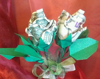 Money Origami Rose, Paper Money Rose, Graduation Money Gift, Birthday Money Gift, Entrepreneur Gift, Wedding Gift, Engagement Gift, Origami