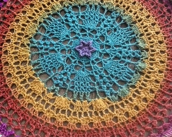 Rainbow wall art /  home decor / crochet mandala / lgbq