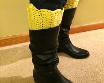 Crochet Boot Cuffs, Button Boot Socks, Winter Leg Warmers