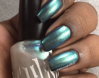 "Unique ""Ecliptic"" Chameleon Aurora Mermaid Chrome Multichrome Color Shifting Opal Blue - Green Nail Polish Full Size 13ml Bottle"