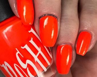 "Unique ""Pleasantly Peach"" Neon Red - Orange (Fluorescent) Nail Polish Full Size 13ml Bottle Gift Present"
