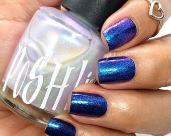 "Unique ""Envisage"" Chameleon Aurora Mermaid Chrome Multi-chrome Opal Color Shifting Violet Blue Nail Polish Full Size 13ml Bottle Gift"