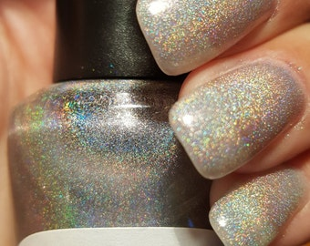 "Unique ""Hello Holo!!"" Linear Rainbow Holographic Nail Polish Full Size 15ml Bottle"