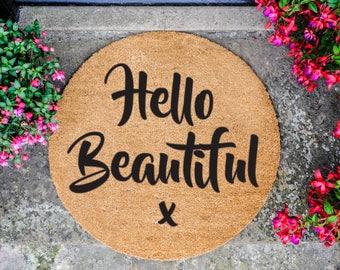 Hello Beautiful Circle Doormat