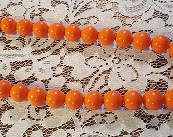 Pumpkin Orange Mini-Bubbles Vintage Necklace