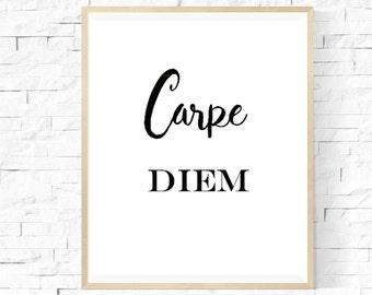 Carpe Diem // Digital Download // Inspirational Print // Inspirational Wall Art // Instant Download // Motivational Art // Inspiration