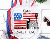 Home sweet home sublimation design download - Windmill American flag sublimation PNG - Patriotic sublimation graphic - Farmhouse Design Png