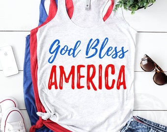 God Bless America svg, 4th of july svg, Independence day svg, America svg,  Cut file for Silhouette & Cricut, Eps, DXF, JPG, PNG files