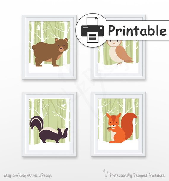 image relating to Printable Woodland Animals referred to as PRINTABLE Woodland nursery wall artwork, Woodland pets print, Woodland nursery decor, Kid artwork prints, Mounted of 4 Prints,