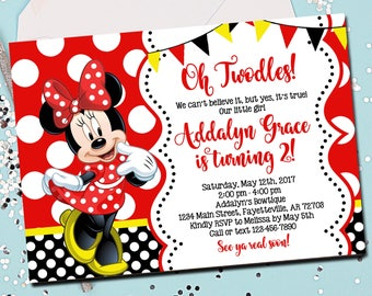 MINNIE MOUSE INVITATION, Minnie Mouse Birthday Invitation, Birthday Invite, Minnie Mouse, Red and Black, Twodles, 2nd Birthday, Printable
