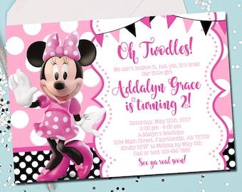 MINNIE MOUSE INVITATION, Minnie Mouse Birthday Invitation, Birthday Invite, Minnie Mouse, Pink, Oh Twodles, 2nd Birthday, Printable