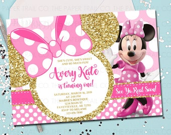 MINNIE MOUSE 1st Birthday Invitation Pink And Gold Minnie Mouse First Printable 5x7