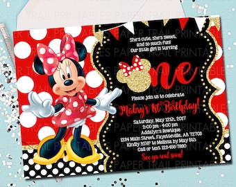 MINNIE MOUSE INVITATION Minnie Mouse Birthday Invitation Invite Red And Gold 1st Printable 5x7