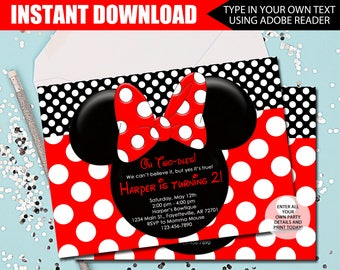 MINNIE MOUSE INVITATION - Instant Download - Oh Twodles - 2nd Birthday Invitation - Minnie Mouse - Invitation - Red and Black - Editable