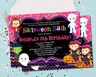HALLOWEEN BIRTHDAY INVITATION Girl Pink Halloween Invitation Costume Party Birthday Printable 5x7