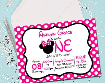 Minnie Mouse Birthday Invitation, Minnie Mouse Invitation, Birthday Invitation, Minnie Mouse, Minnie Mouse Birthday, Printable Invitation