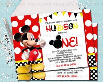 MICKEY MOUSE INVITATION Mickey Mouse Birthday Invitation Invite Red And Black1st Printable