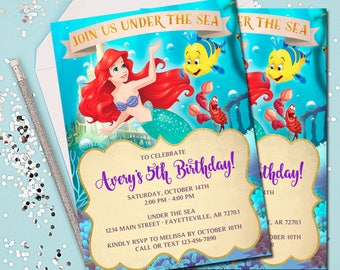 LITTLE MERMAID INVITATION Ariel Invitation Little Mermaid Under The Sea Birthday Invite 5x7
