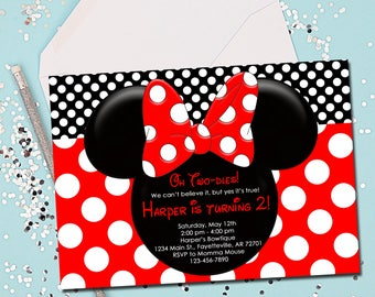 Red And Black Minnie Mouse Invitations Etsy