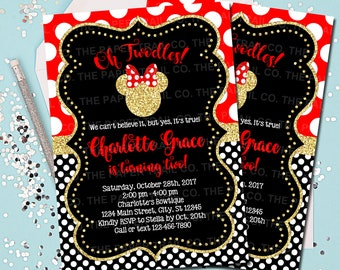 MINNIE MOUSE INVITATION Minnie Mouse Birthday Invitation Invite Red And Gold Twodles 2nd Printable 5x7