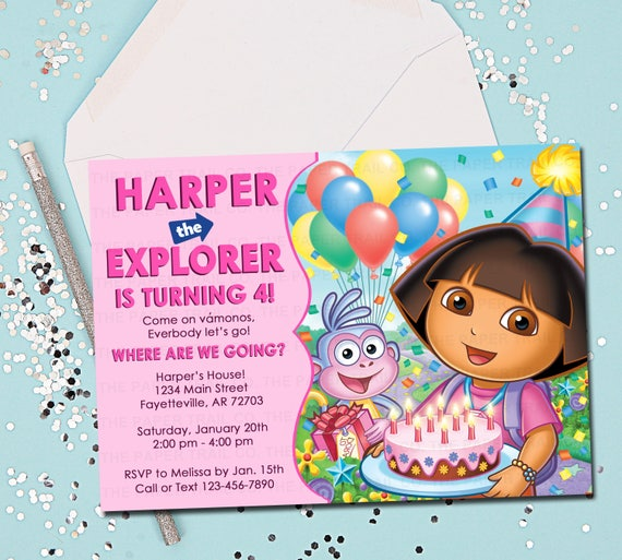 Items Similar To Dora The Explorer Invitation Birthday Invitation