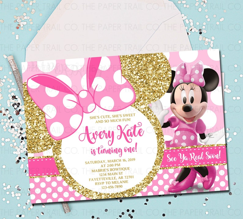 MINNIE MOUSE 1st Birthday Invitation Pink And Gold Minnie
