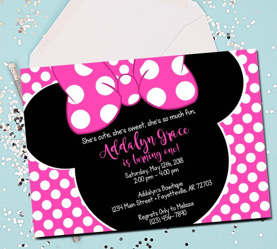 Minnie Mouse Invitation Pink Minnie Mouse 1st Birthday Etsy