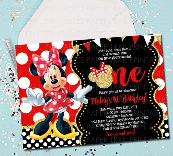 Remarkable Minnie Mouse Invitation Minnie Mouse Birthday Invitation Etsy Funny Birthday Cards Online Fluifree Goldxyz
