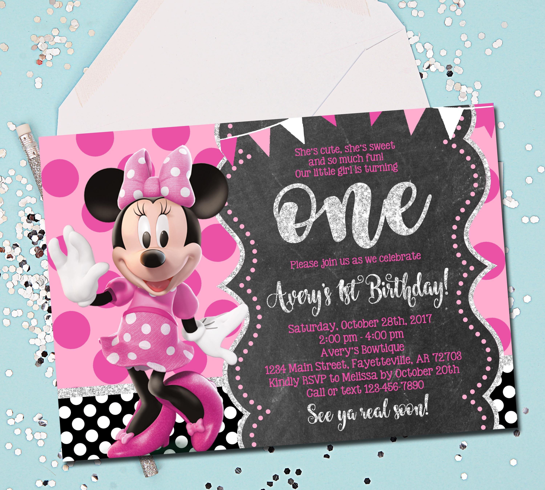 Admirable Minnie Mouse Invitation Birthday Invitation 1St Birthday Etsy Funny Birthday Cards Online Fluifree Goldxyz