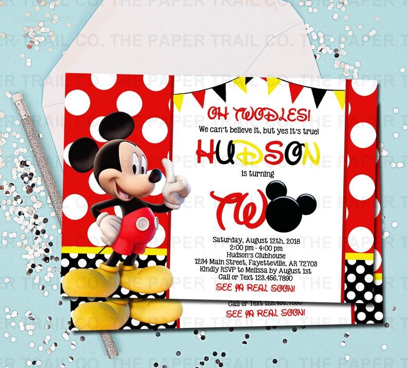 MICKEY MOUSE INVITATION Mickey Mouse Birthday Invitation