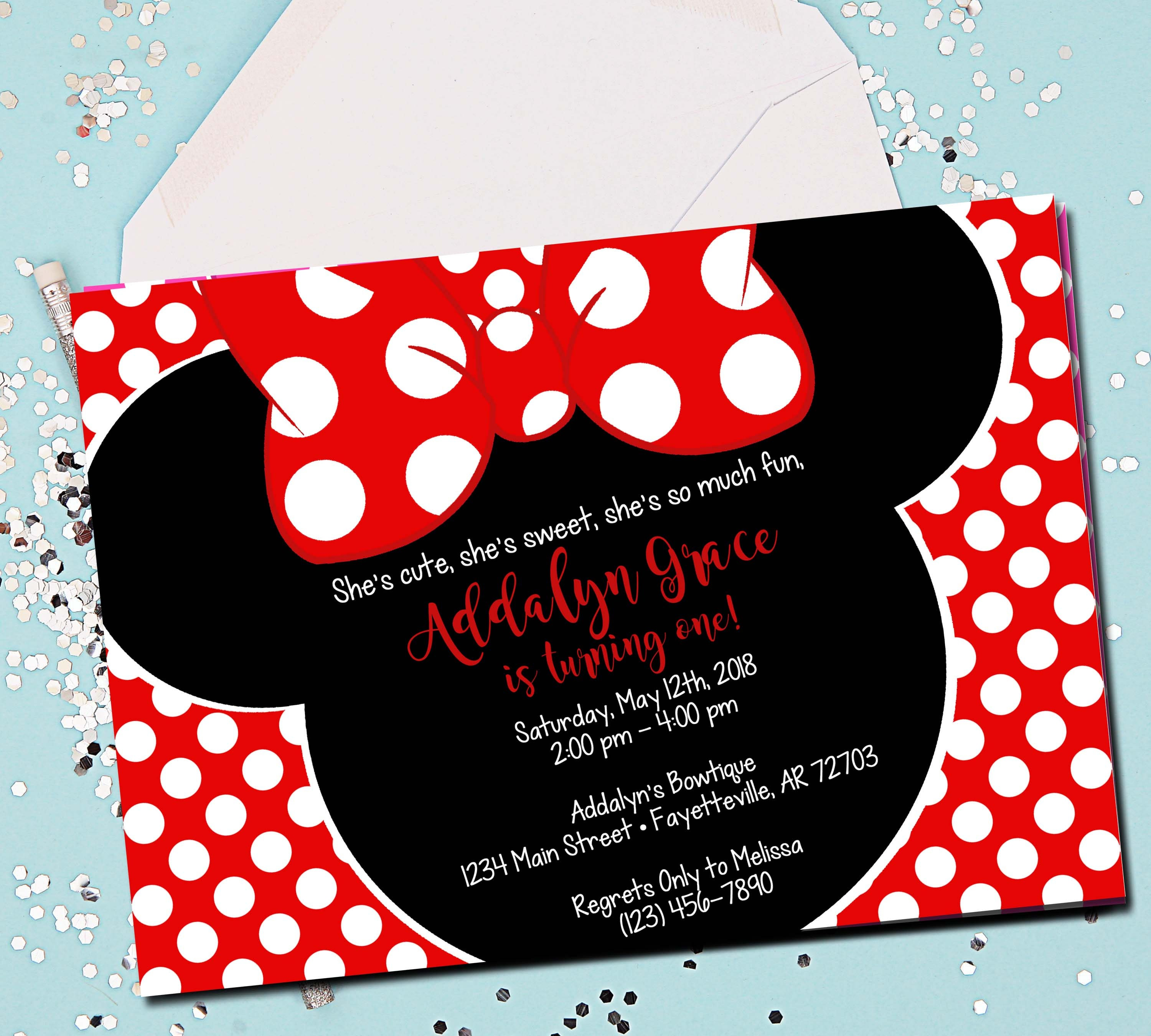 Minnie Mouse Invitation Red 1st Birthday