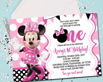 MINNIE MOUSE INVITATION, Minnie Mouse Birthday Invitation, 1st Birthday, Minnie Mouse, First Birthday, 1st Birthday Invitation, Printable