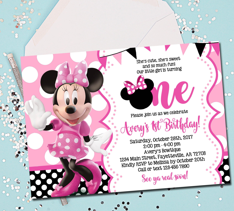 MINNIE MOUSE INVITATION Minnie Mouse Birthday Invitation 1st