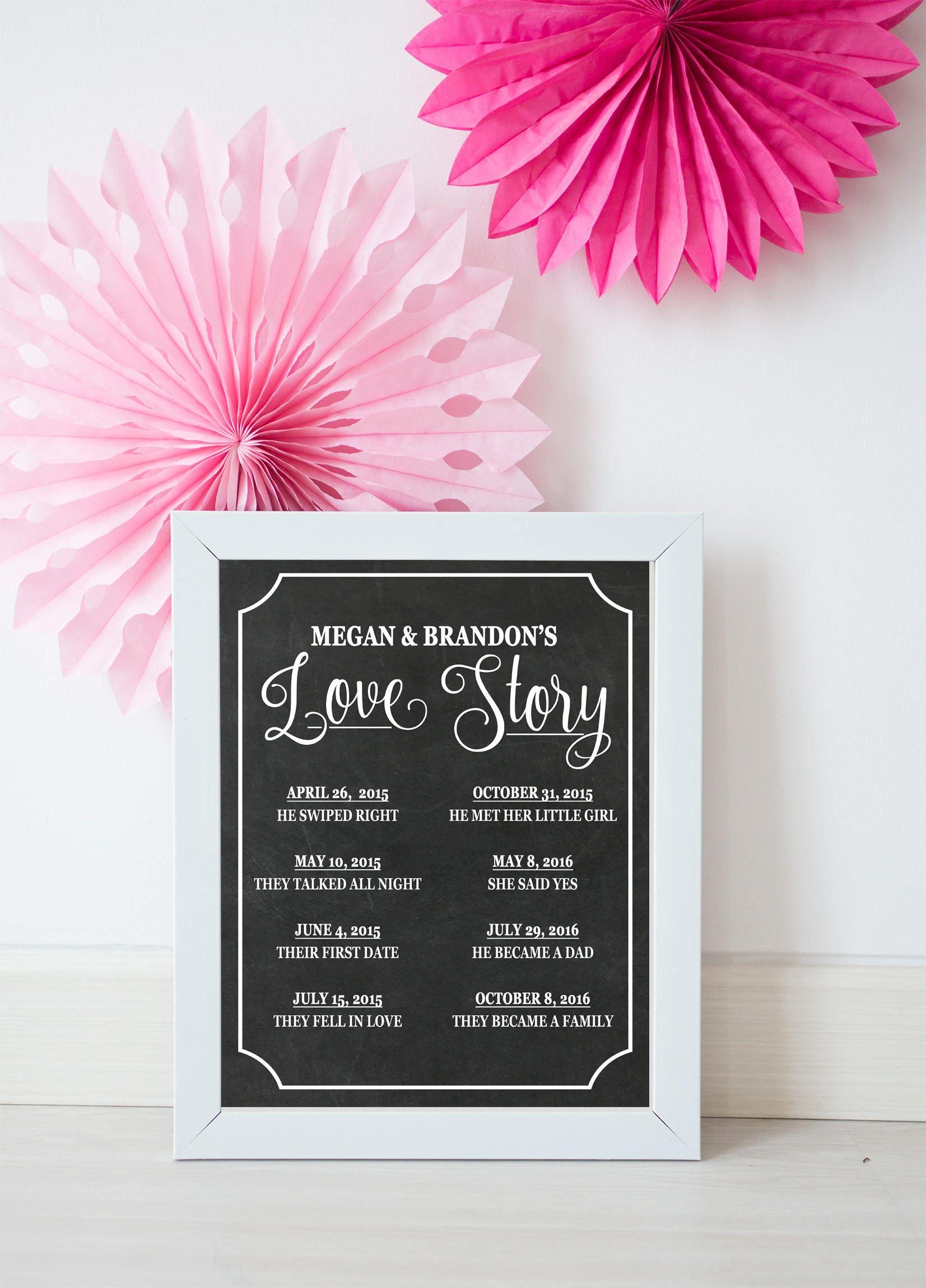 LOVE STORY SIGN Chalkboard Love Story Sign Wedding Decor | Etsy