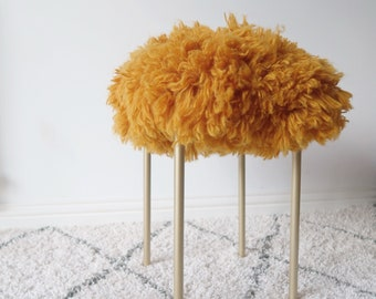 Crochet Pattern // POWDER ROOM STOOL // luxe fluffy crochet for your home // loop stitch tutorial included // ikea hack stool