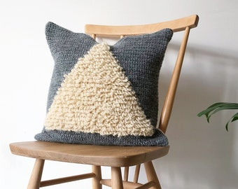 Bermuda Triangle loop stitch crochet cushion pattern, digital PDF download, detailed tutorial pictures and graph, pillow