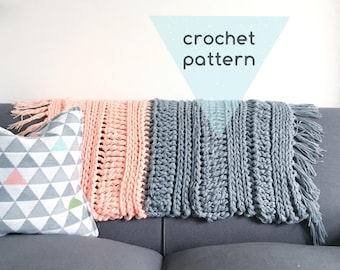 Boho Colour Block Crochet Blanket Pattern, Super Chunky, Instant PDF Download in three blanket sizes