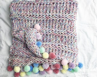 Knit Rainbow Blanket and Cushion pattern, Super Chunky, Instant PDF Download in 5 pillow & blanket sizes - baby lapghan throw single double