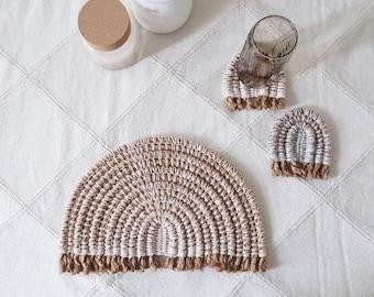 Crochet Pattern // Rainbow Rope Placemats Coaster Trivet Wallhanging // Scandi Boho Home Decor // Kitchen Place Mats // PDF //