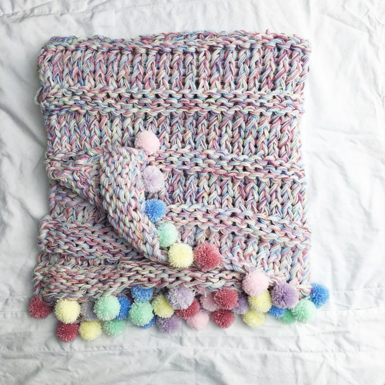 Knit Rainbow Blanket and Cushion pattern Super Chunky image 0