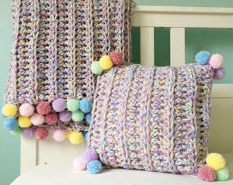 Crochet Rainbow Blanket and Cushion Pattern, Super Chunky, PDF Download in 5 pillow & blanket sizes - baby lapghan picnic single double bed