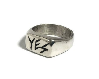 YES, sterling silver chunky ring, unique ring, word ring, silver statement ring, sterling silver ring, cocktail ring
