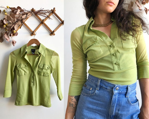 Y2K Lime Sheer Knit Blouse, Size Small