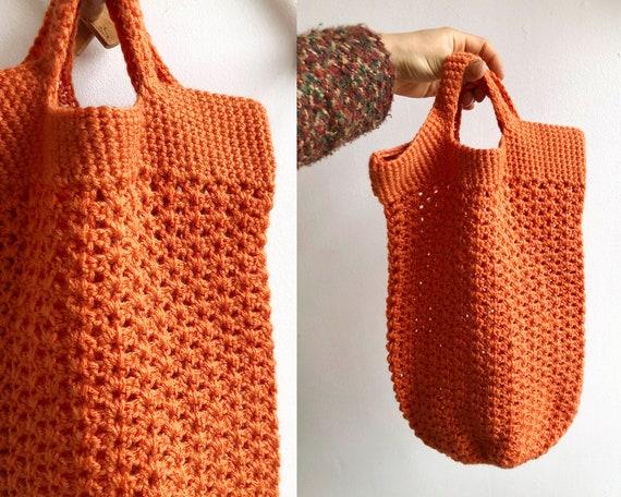 Vintage Crochet Knit Tote Bag