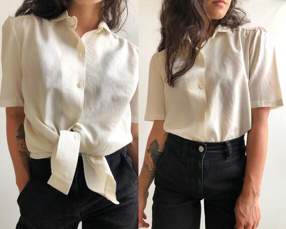 70s Cotton Puff Sleeve Blouse, Size Medium