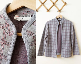 70s pale blue / plaid open front granny cardigan with front pockets